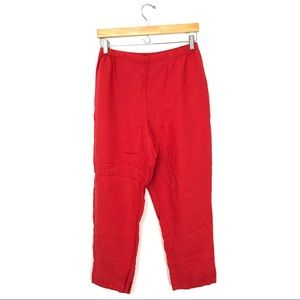 FLAX Red 100% Linen Pants Split Back Ankle S A4